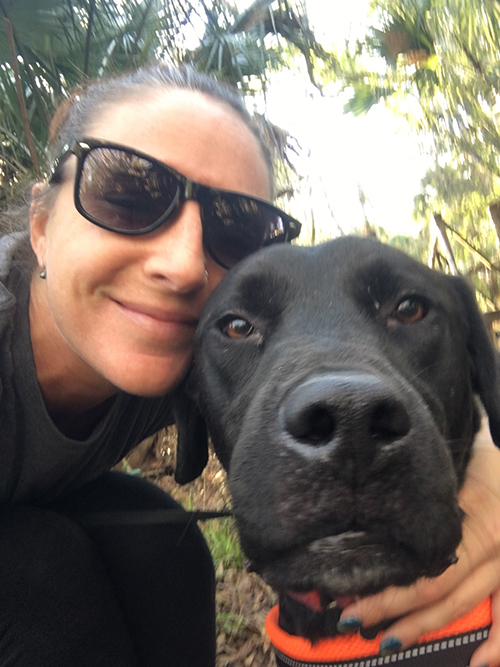 Jennifer McBride with her dog, Killian